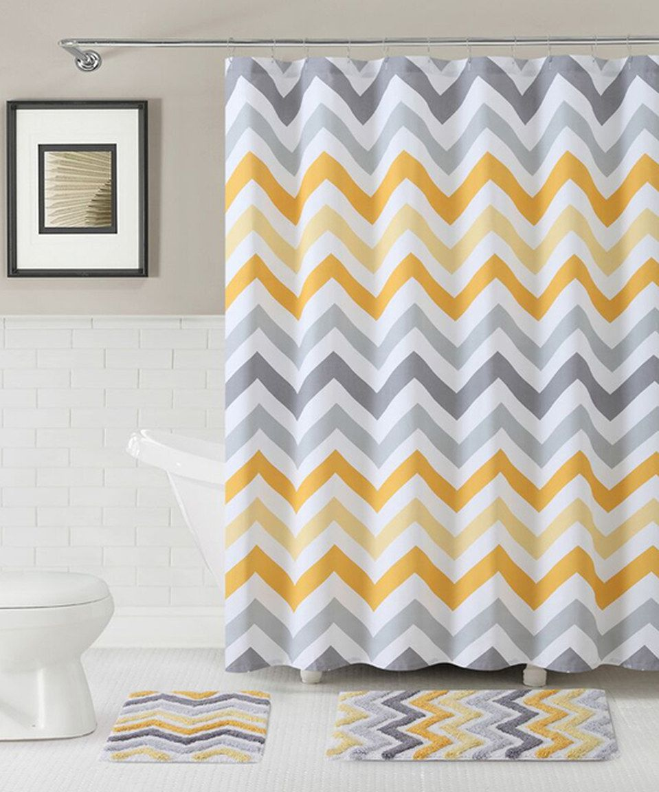 Victoria Classics Yellow & Gray Corso Chevron Shower Curtain & Bath ...