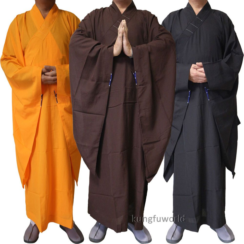 New Buddhist Monk Shaolin Dress Meditation Haiqing Robe Long Gown Kung Fu Suit