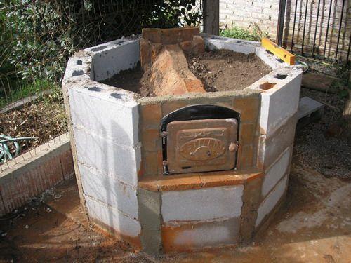 Hornos artesanos de obra jard n chimeneas pinterest - Parrillas y hornos a lena ...