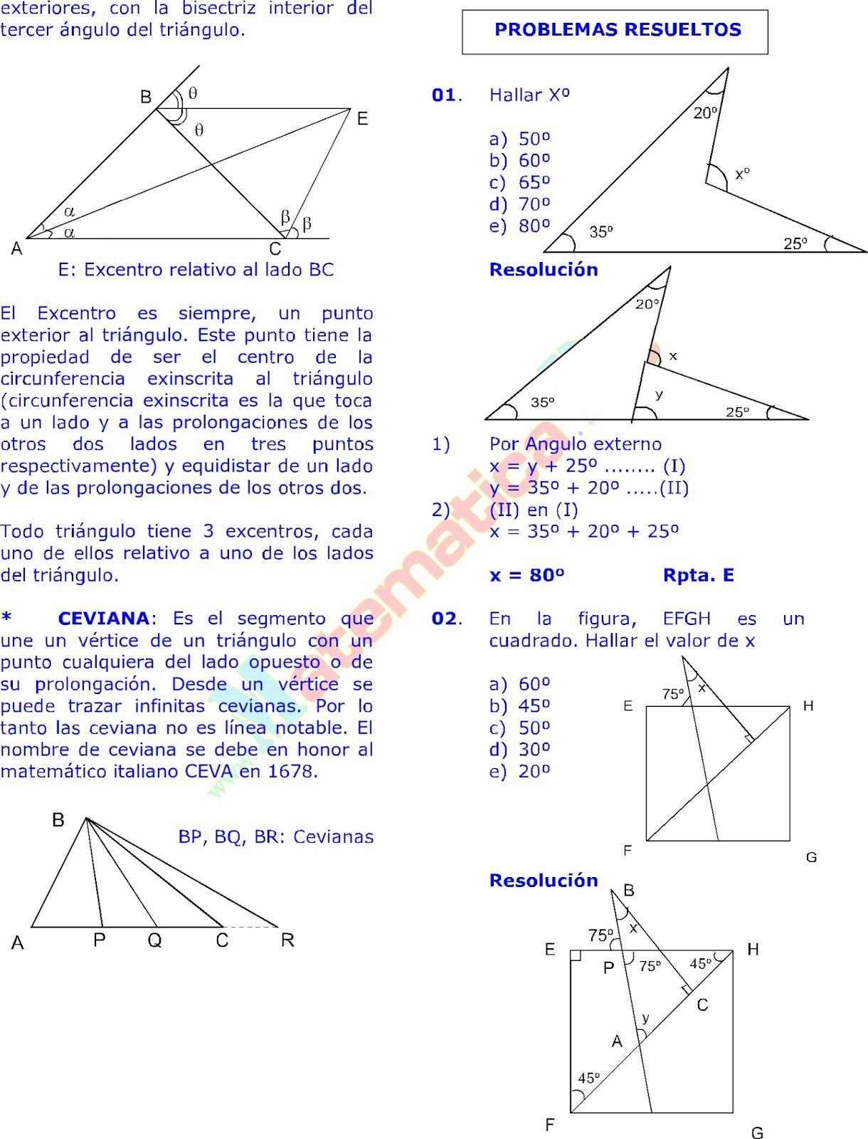 Los Triangulos Y Sus Propiedades Ejercicios Resueltos De