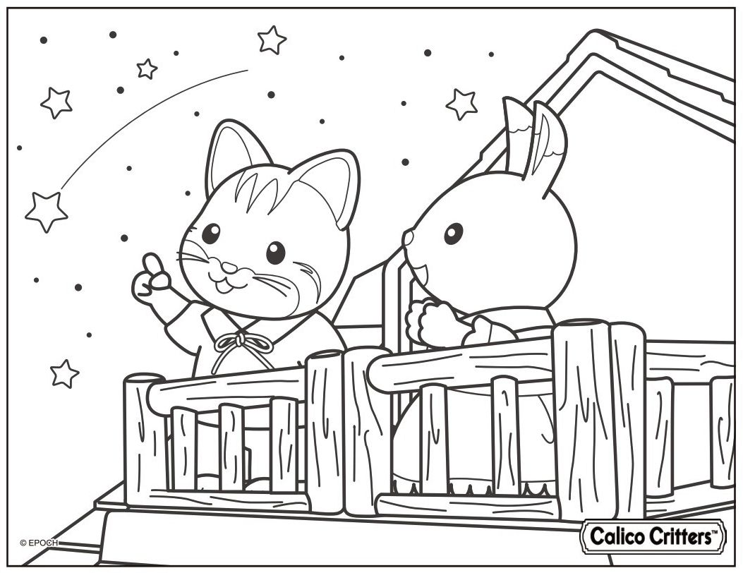 Calico Critters Watching The Stars Brother Linus Fisher Left And Sister Bell Hopscotch Watch The Family Coloring Pages Coloring Books Cute Coloring Pages