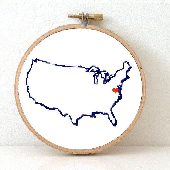 Usa Map Cross Stitch Pattern Easy Embroidery Pattern To Make United