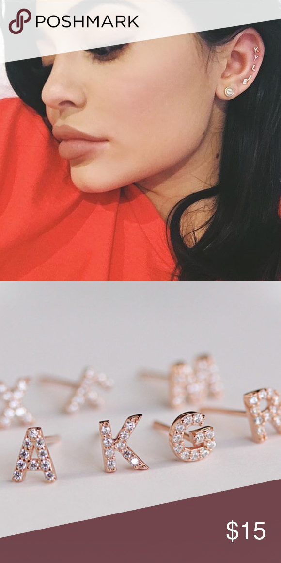 Rose Gold Initial Letter Earrings Small Studs