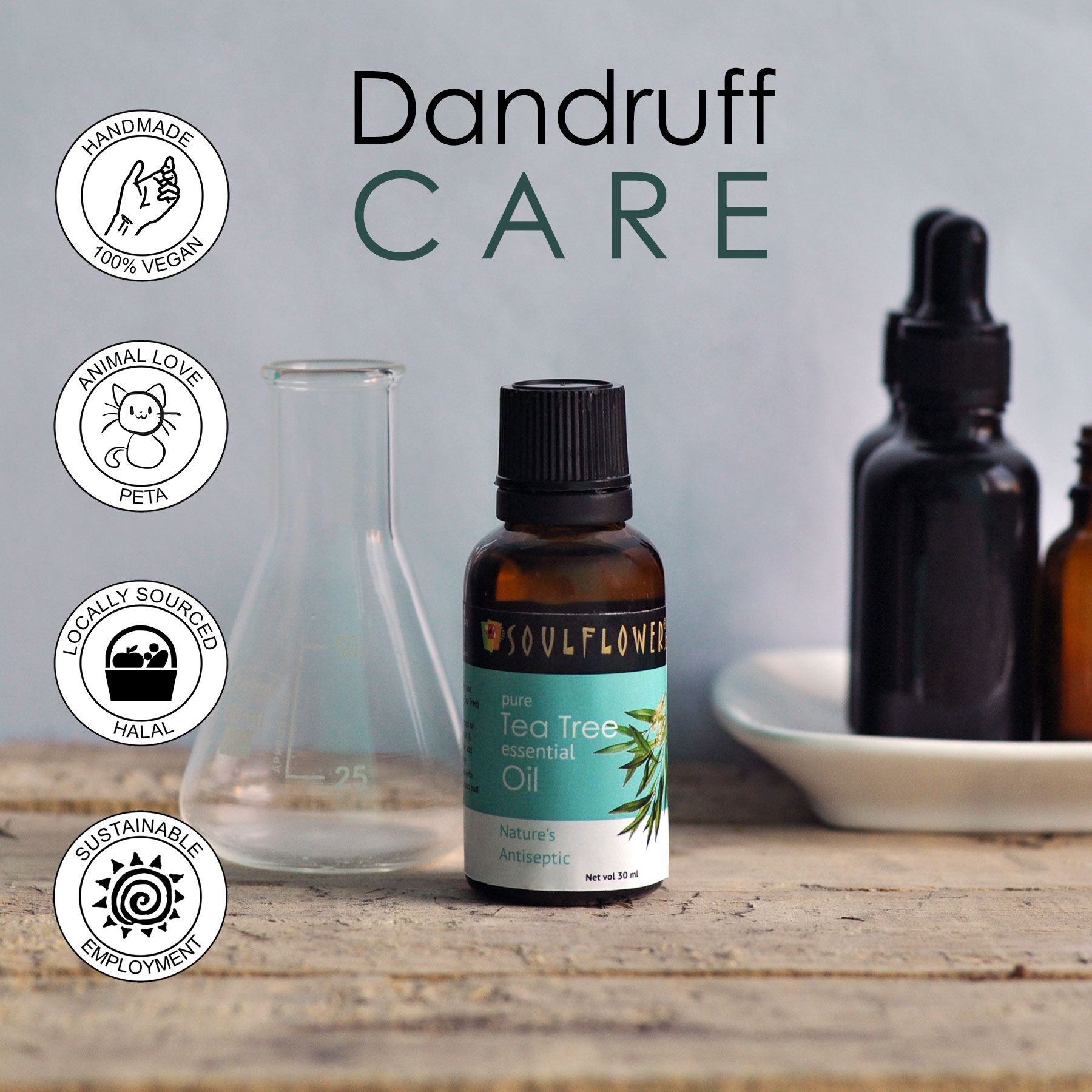 Tea Tree, the best and effective solution for dandruff. 2 drops with any carrier oil to permanently heal scalp issues.