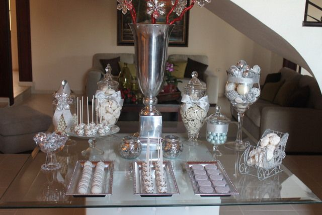 Silver white birthday party ideas dessert table for 25th birthday decoration