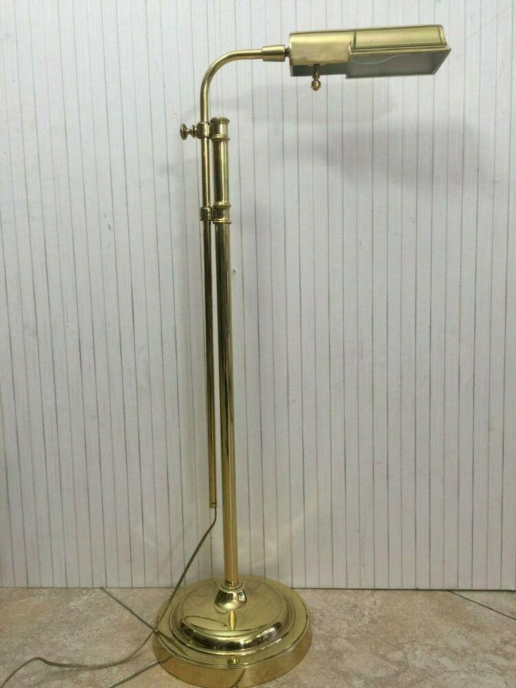 Vintage Stiffel Brass Adjustable Pole Pharmacy Metal Floor