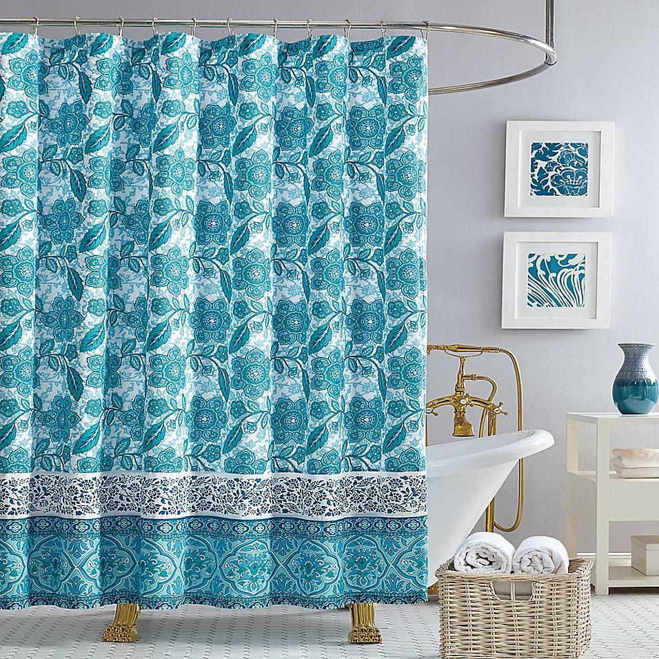 Jessica Simpson Aqua Flora Shower Curtain In Blue Blue Shower