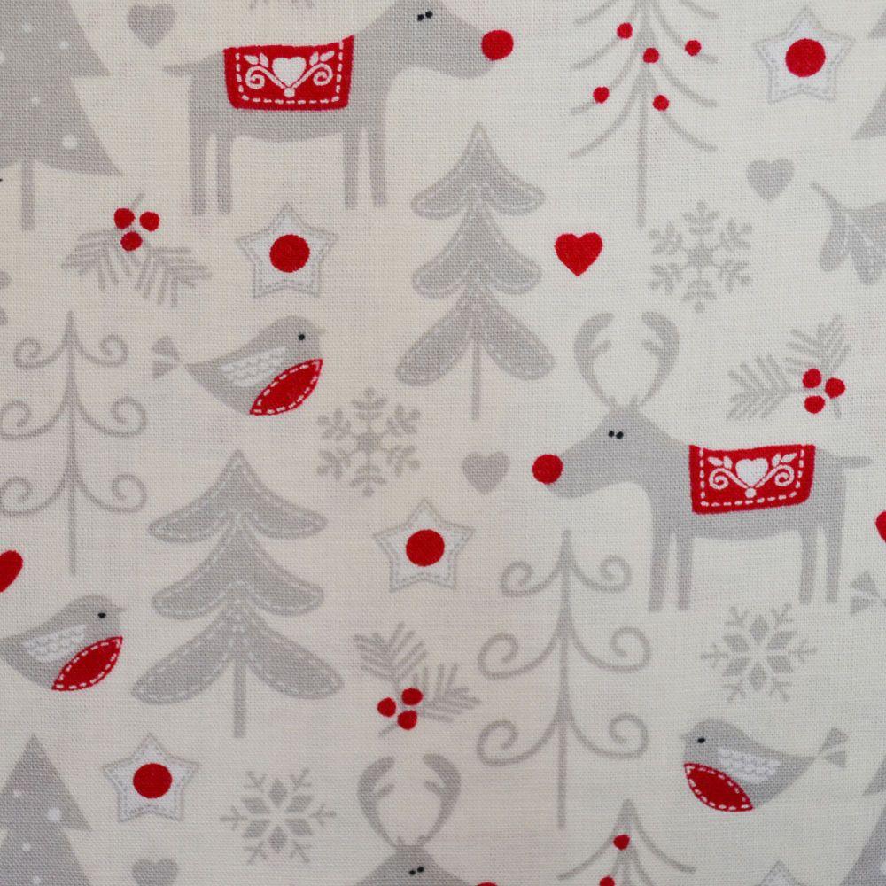 Christmas Grey Christmas Snowman Print Polycotton Fabric Xmas Material