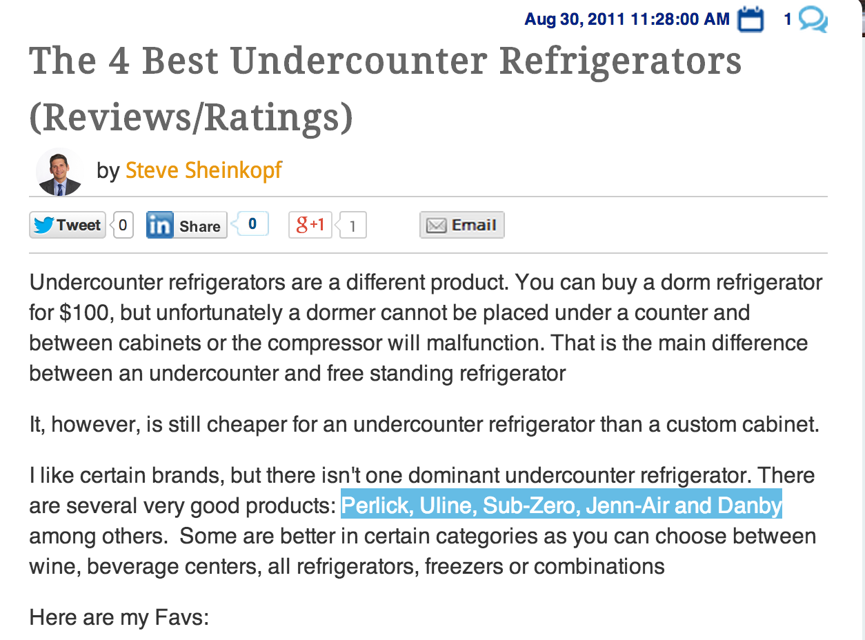 The 4 Best Undercounter Refrigerators (Reviews / Ratings