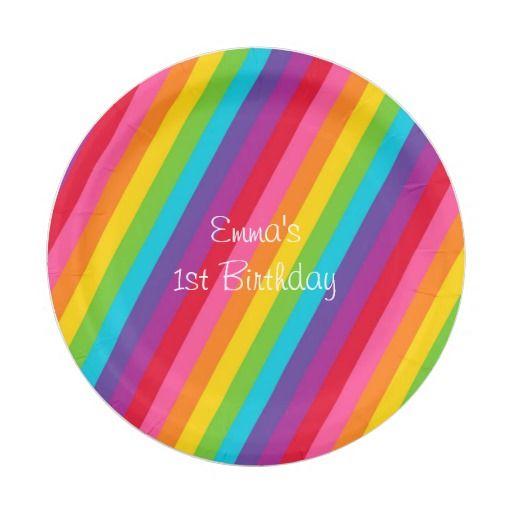 sc 1 st  Pinterest & Rainbow Personalized Paper Plates