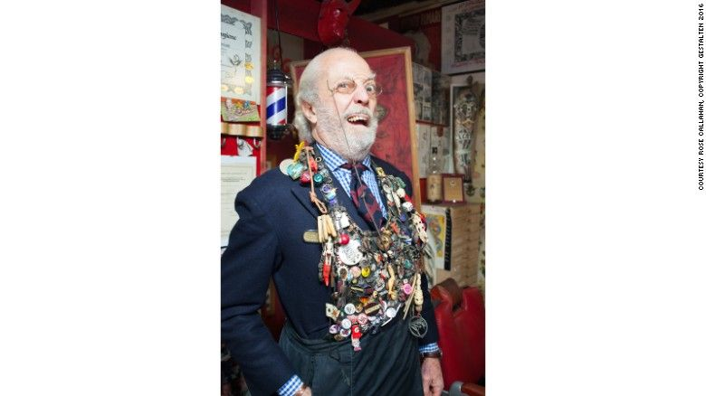 """Adams and Callahan profiled men from more than a dozen countries. Here, tattoo artist and set and costume designer Gian Maurizio Fercioni is photographed in his home in Milan.<br /><br />""""Elegance is like spaghetti."""" he told Adams. """"Spaghetti pomodoro is simple. But if you make it with the best ingredients it becomes elegant."""""""