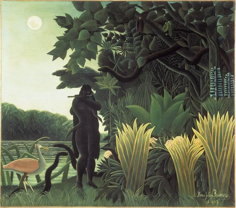 Henri Rousseau Snake Charmer Analogous Color Scheme Using Yellow Green