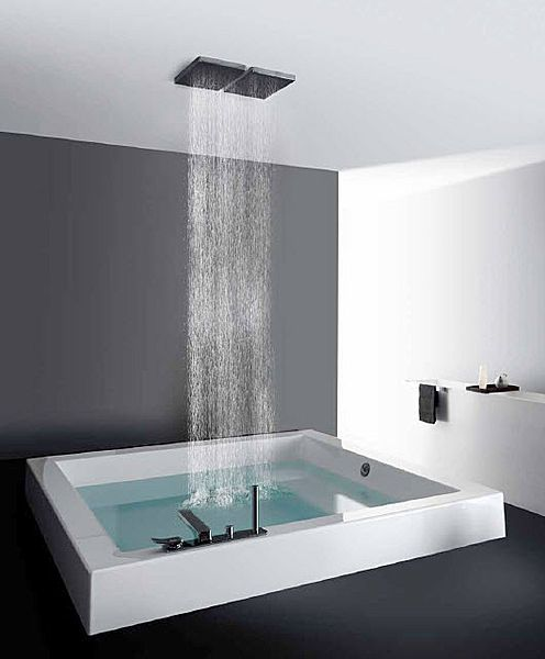 Built In Square Bath Tub Grande Quadra Step Kos Luxe Badkamer