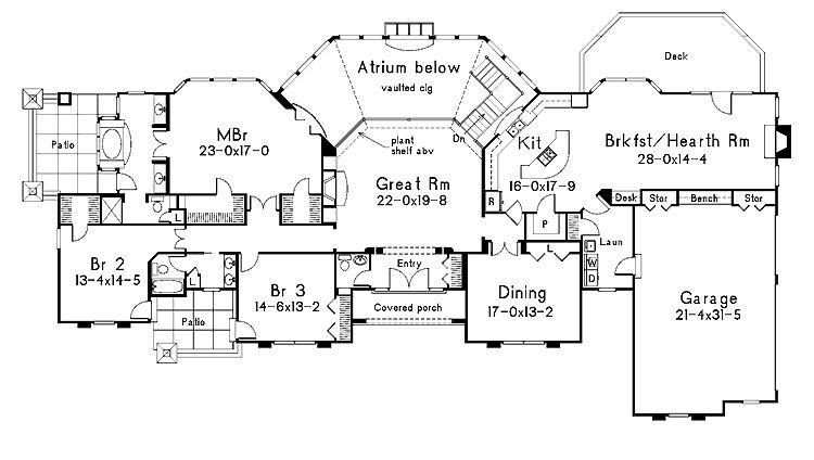 Wide Lot One Level Open Floorplan House Plans House Floor Plans Diy House Plans