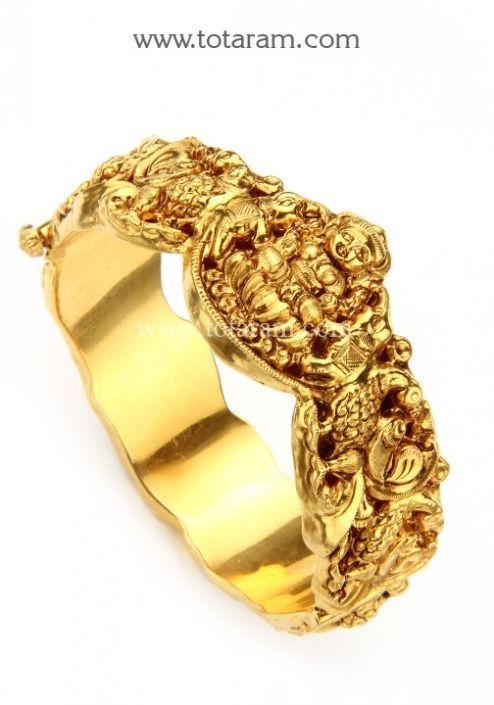 22K Gold Lakshmi Kada Single Piece Temple Jewellery Totaram