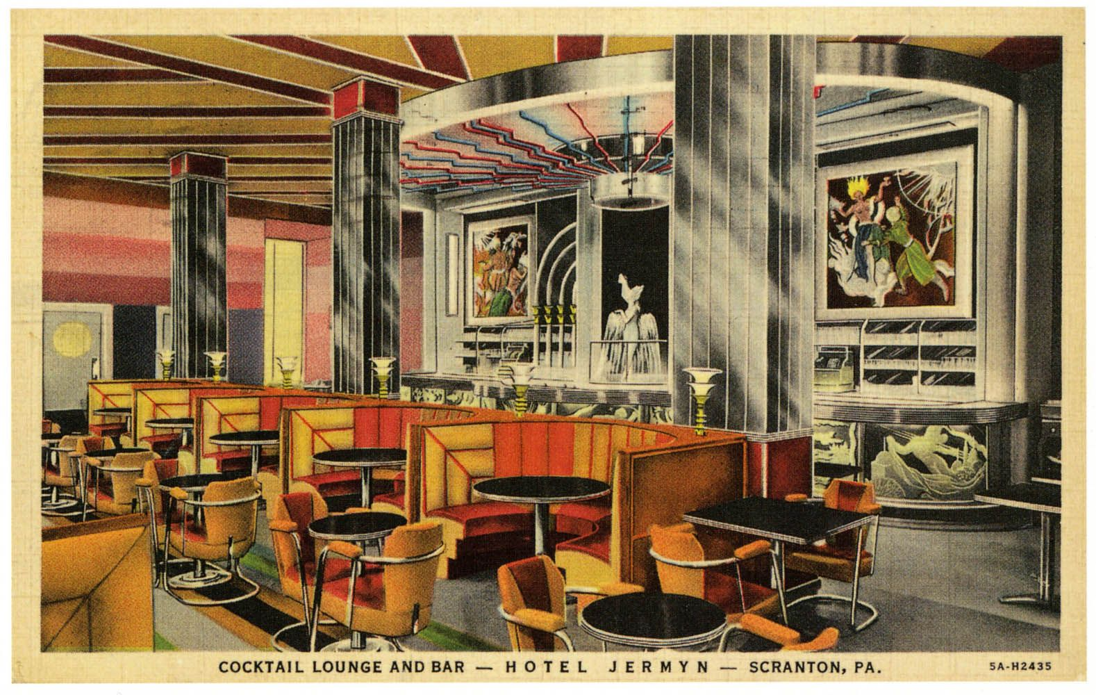 Vintage Postcard Cocktail Lounge And Bar At The Hotel Jermyn Scranton Pennsylvania 1935