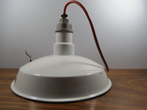 Vintage porcelain enamel light industrial barn warehouse vintage porcelain enamel light industrial barn style hanging fixture by thisattic on etsy mozeypictures Choice Image