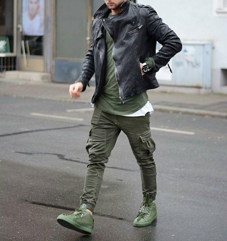 style street veste en cuir pantalon cargo vert kaki. Black Bedroom Furniture Sets. Home Design Ideas