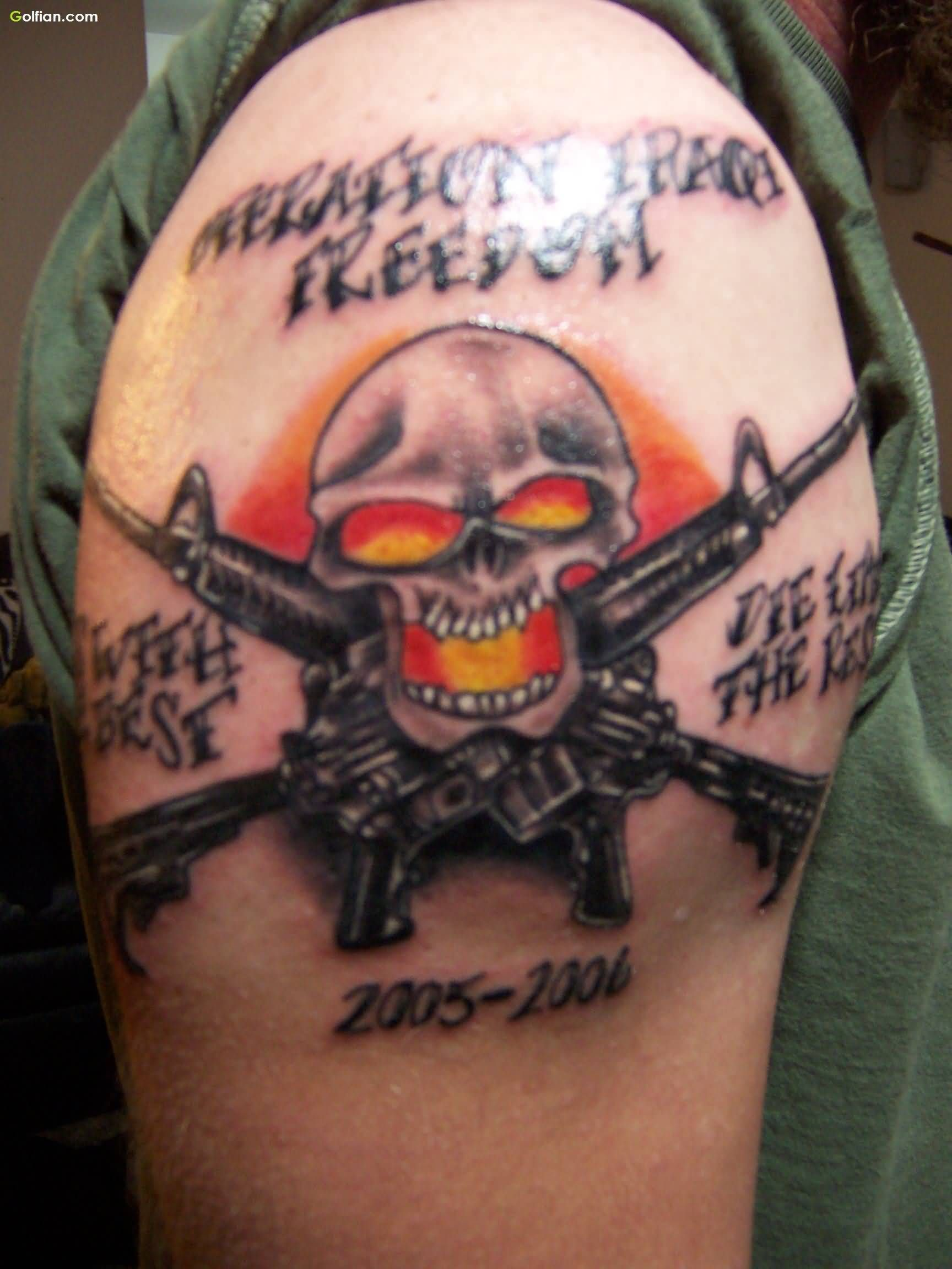 Horrible tattoo ideas - M4 Tattoo Drawings 65 Horrible Army Skull Tattoo Pictures Scary