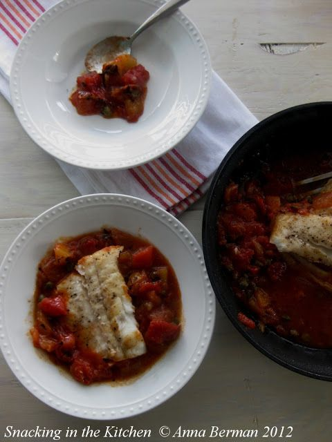 Pan Seared Halibut, Braised in Diced Tomatoes with Capers | Snacking in the Kitchen