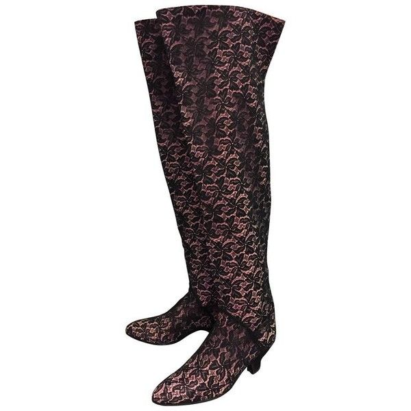 "Preowned 1980s Maud Frizon 22"" High Black Lace Over Pink Leather... ($1,200) ❤ liked on Polyvore featuring shoes, boots, pink, black boots, over-the-knee lace-up boots, kitten heel boots, black lace-up boots and lace leather boots"