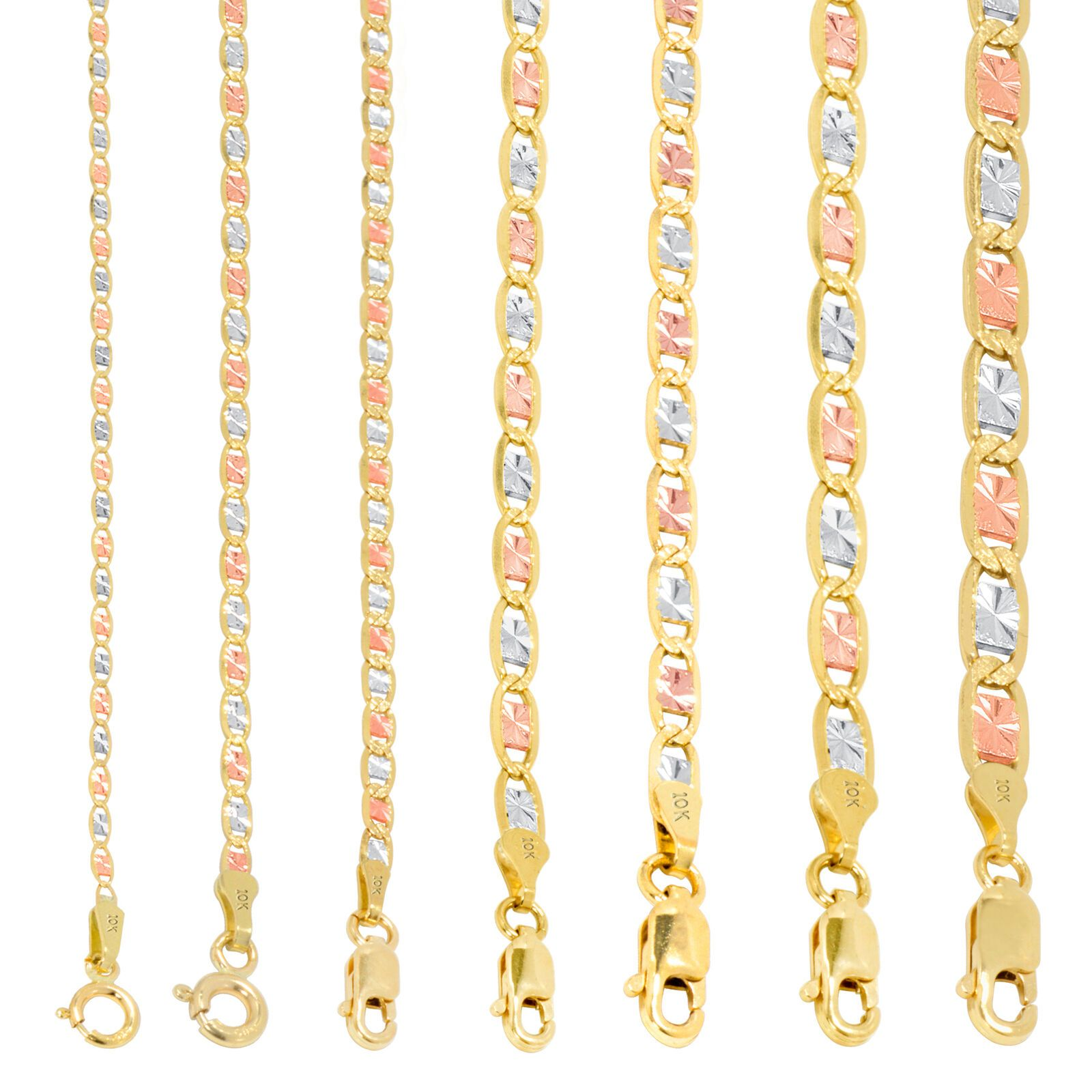 10k Gold Solid Tri Yellow Rose White 1 5mm 6mm Valentino Chain Necklace 16 30 In 2020