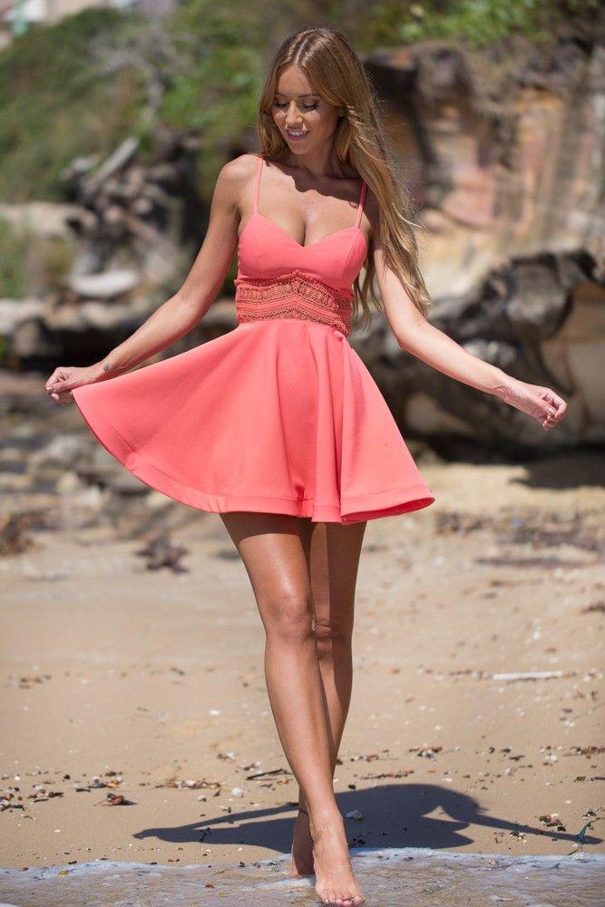 0c4556aec56 Coral Crochet Lace Skater Dress