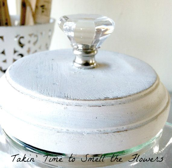 Shabby Glass Hexagon Shaped Canister with Hand by takintime, $20.00