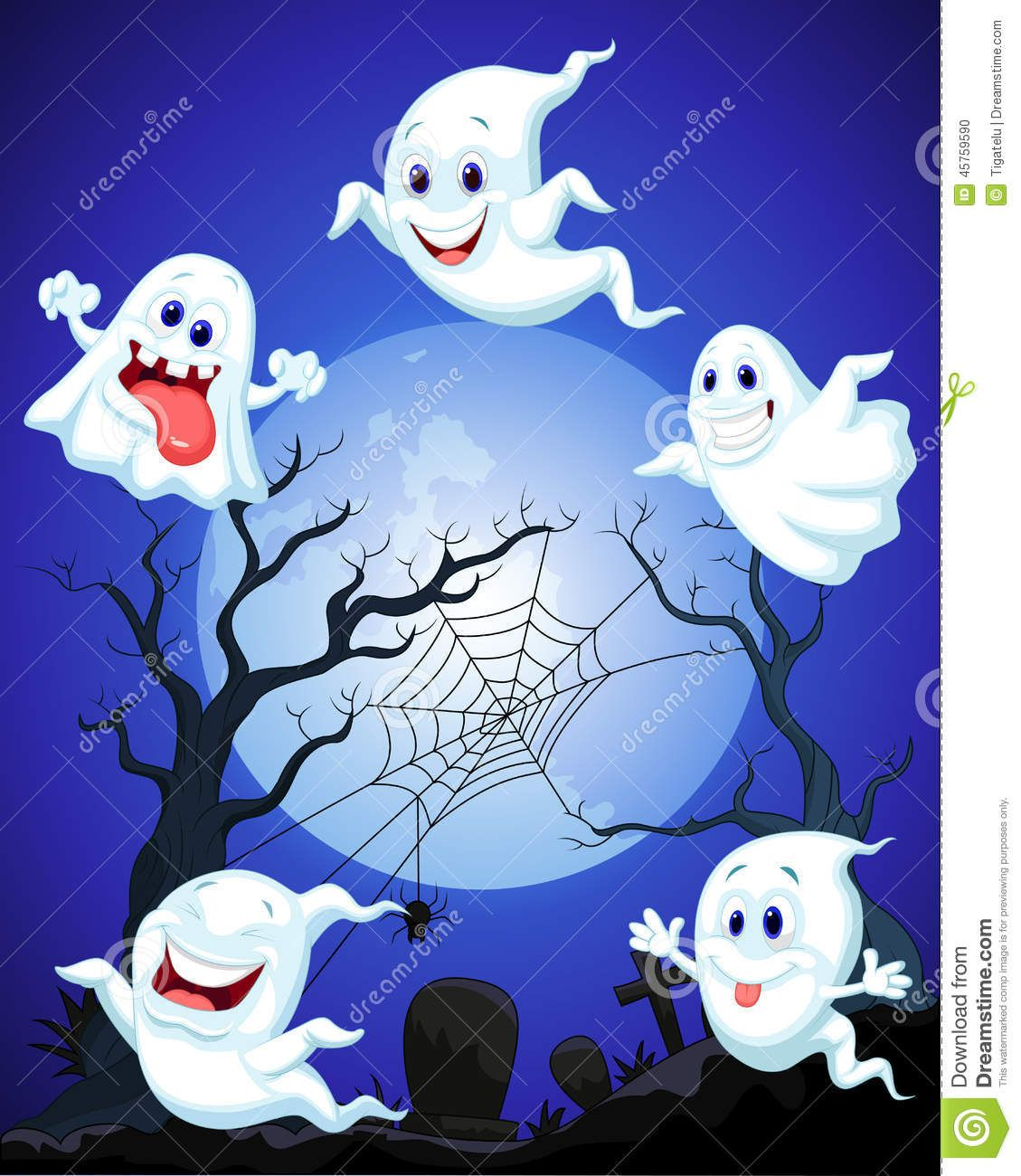 Halloween Cartoon Illustration Of Halloween Ghost Cartoon Fun Halloween Decor Ghost Cartoon Halloween Frames