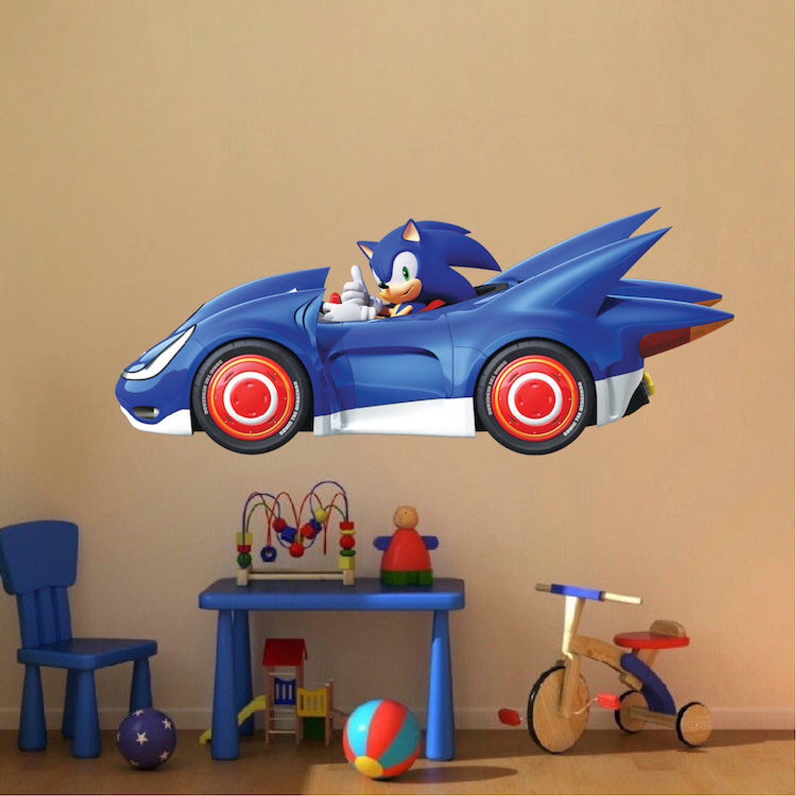 sega sonic wall decal sonic the hedgehog racing fast race on sonic wall id=61967
