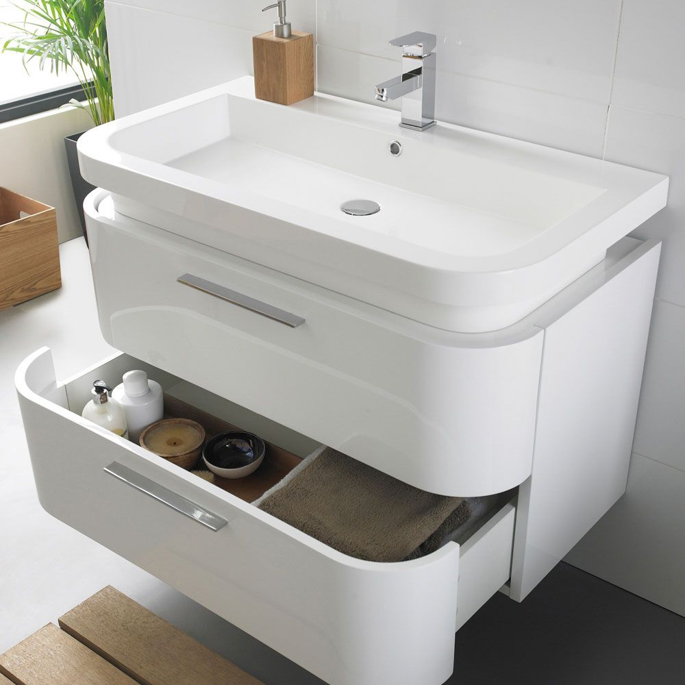 Ultra Bias Wall Mounted Basin Unit W900 X D500mm White