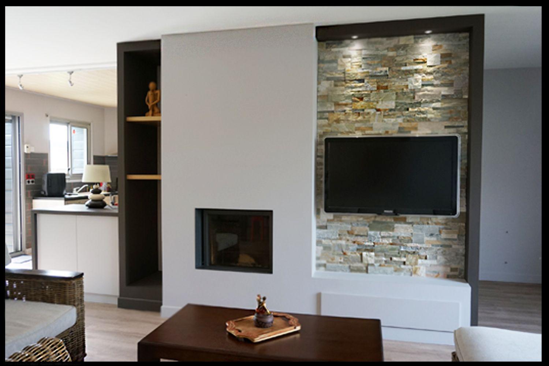 cheminée, parement, meuble sur mesure, tv, marron, parquet | meuble