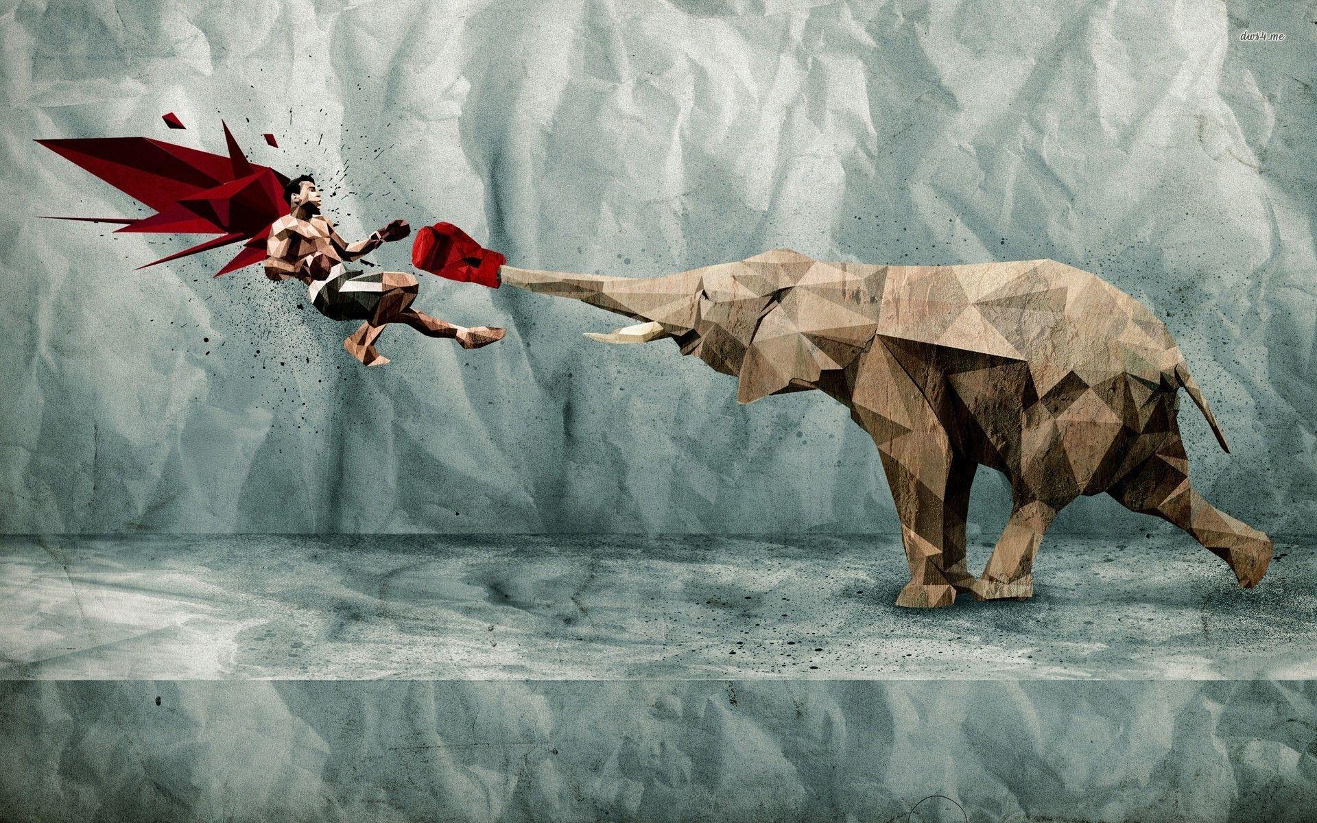 Hd wallpaper elephant - Elephant Boxing Digital Art Hd Desktop Wallpaper Box Wallpaper Elephant Wallpaper Digital Art No