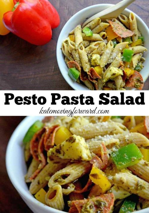 Pesto Pasta Salad - An easy and healthy pasta salad with whole grains, fresh veggies, pesto, and mozzarella cheese. The perfect side dish for summer picnics and barbecues!