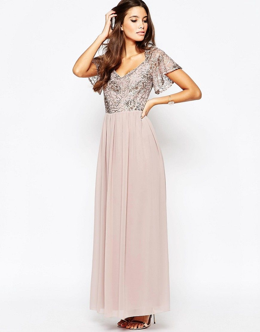 55568bd129942 Image 1 of Little Mistress Chiffon Maxi Dress With Sequin Top And Fluted  Sleeve