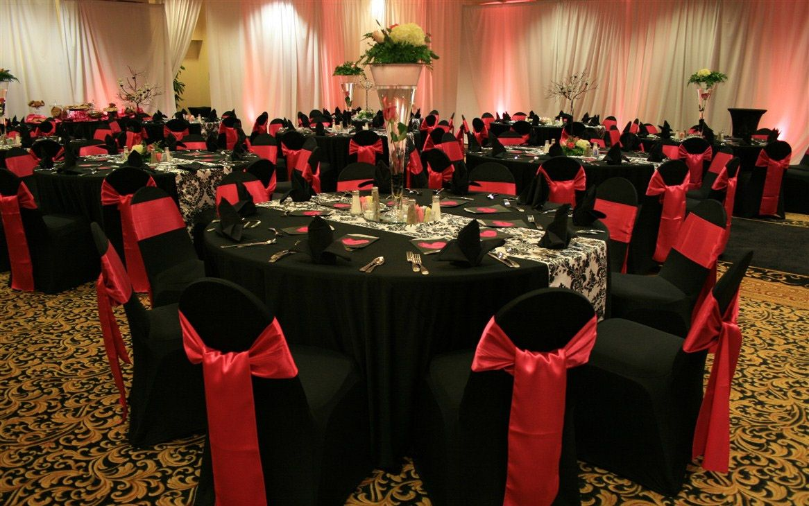 Black chair covers for weddings - Red And Black Valentine S Party Ideas Wedding Chair Covers Bromley London And Kentdesigner