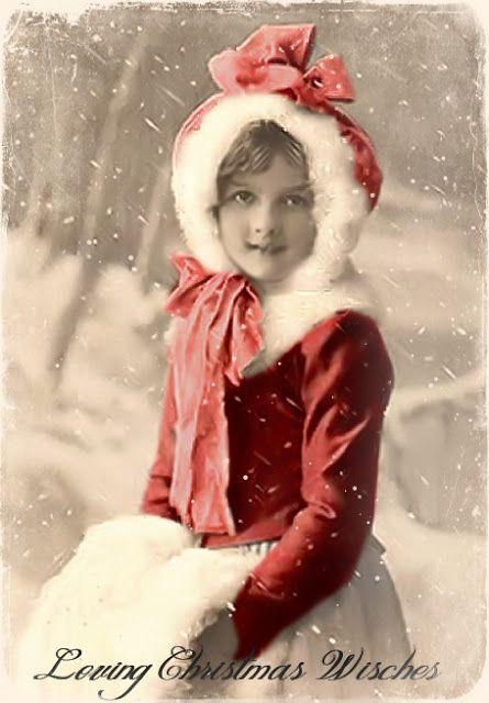 Joyeux Noel Twilight.Christmas Girl Joyeux Noel Vintage Christmas Images
