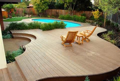 Custom Decks Inground Pool Landscaping Fire Pit Landscaping
