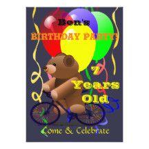 7 Year Old Birthday Party Invitations For A Boy Or Girl Balloons Teddy Bear Kids 13 Cm X 18 Invitation Card
