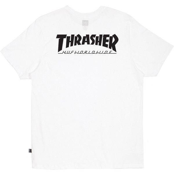 HUF HUF X Thrasher White Classic H Tee (195 DKK) ❤ liked on Polyvore featuring tops, t-shirts, huf, white top, white t shirt, huf t shirts and white tee