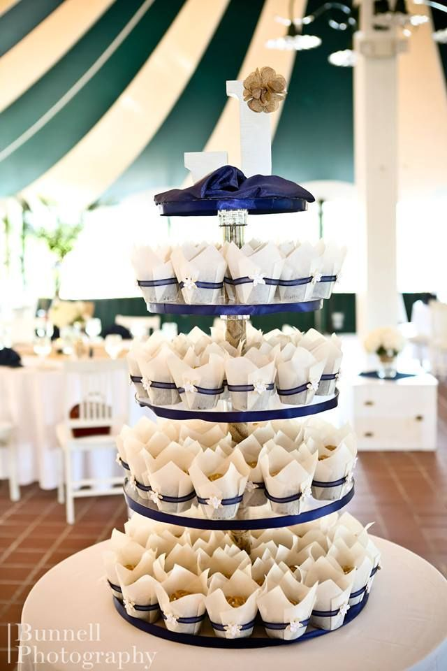 Wedding Cupcake Tower With Navy Blue And Burlap Accents