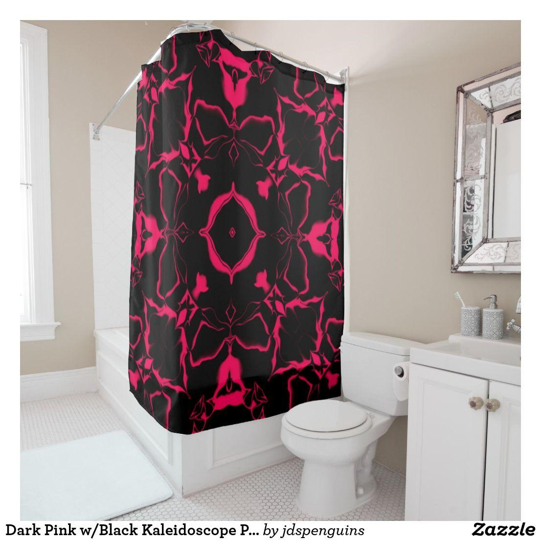 Dark Pink W Black Kaleidoscope Pattern 3 Shower Curtain Zazzle
