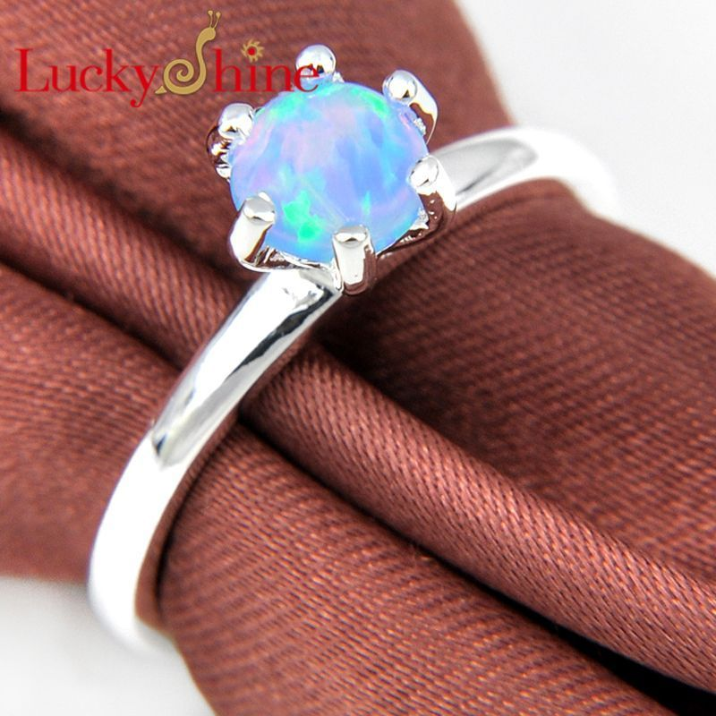 Promotion Classic Fire Round Blue Created Opal Silver Plated Wedding