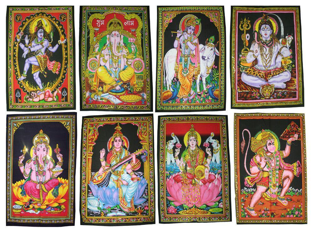 Ganesha Shiva God Cotton Mandala Wall Hanging Tapestry Poster Wholesale Lot Handmade Artdecostyle Wall Art Prints Cotton Tapestry Elephant Tapestry