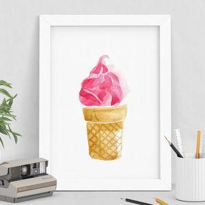 Pink Ice Cream Watercolour Print