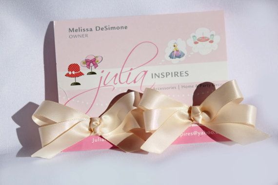 Satin Hair Bow Alligator ClipNude Pair by JuliaInspires on Etsy