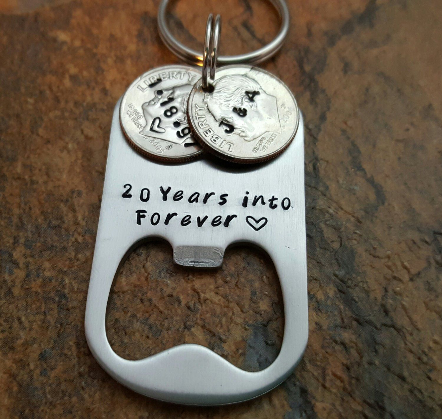 20th anniversary keychain, 20 years into forever, Husband Gift, For Men, 20 year wedding anniversary, Personalized HandStamped key ring gift #20thanniversarywedding