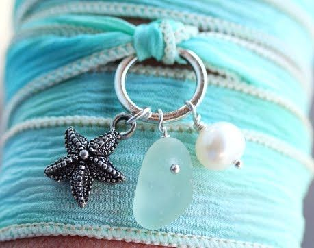 sea glass bracelet ribbon