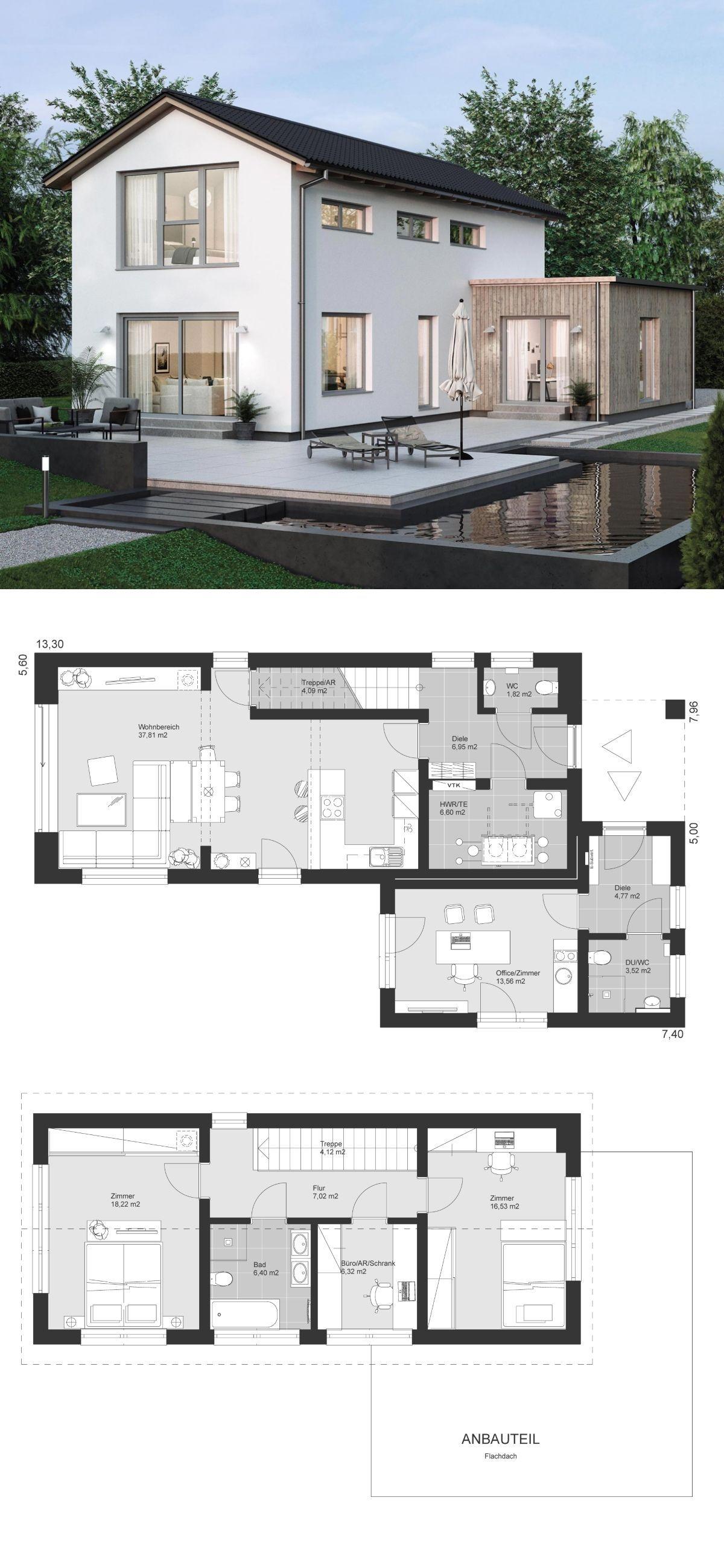 Einfamilienhaus modern Grundriss schmal mit Büro Anbau