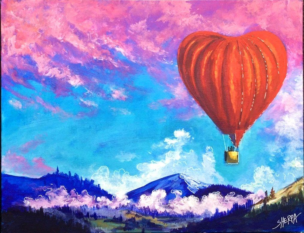 How To Paint A Heart Shape Hot Air Balloon Full Acrylic On Canvas